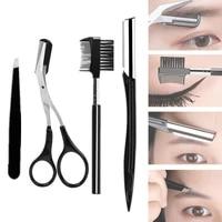 4 pcs practical beauty tools unisex portable eyebrow scissors eyebrow grooming set brush scrissors razor tweezers