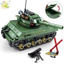 HUIQIBAO 437pcs Military Series Panzer Sherman M4 Tank Building Blocks Tank Army Figures City Bricks Toys For Children