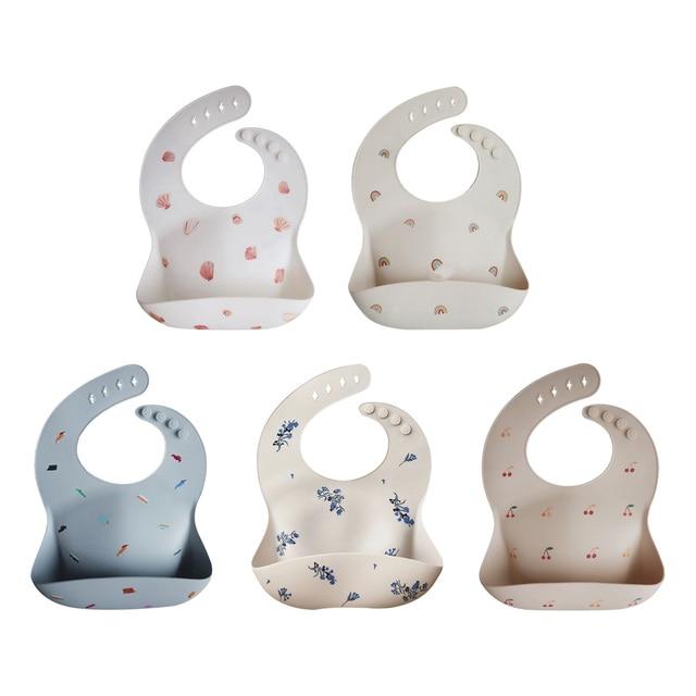 New Silicone Waterproof Baby Bibs Burp Cloths Toddler Kids Toddler Adjustable Wipeable Feeding Apron Saliva Bandana 5 Colors
