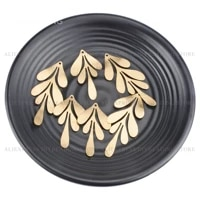 4 200 pcs jewelry making charms brushed brass long leaf shape charm finding component for earring necklace making supply