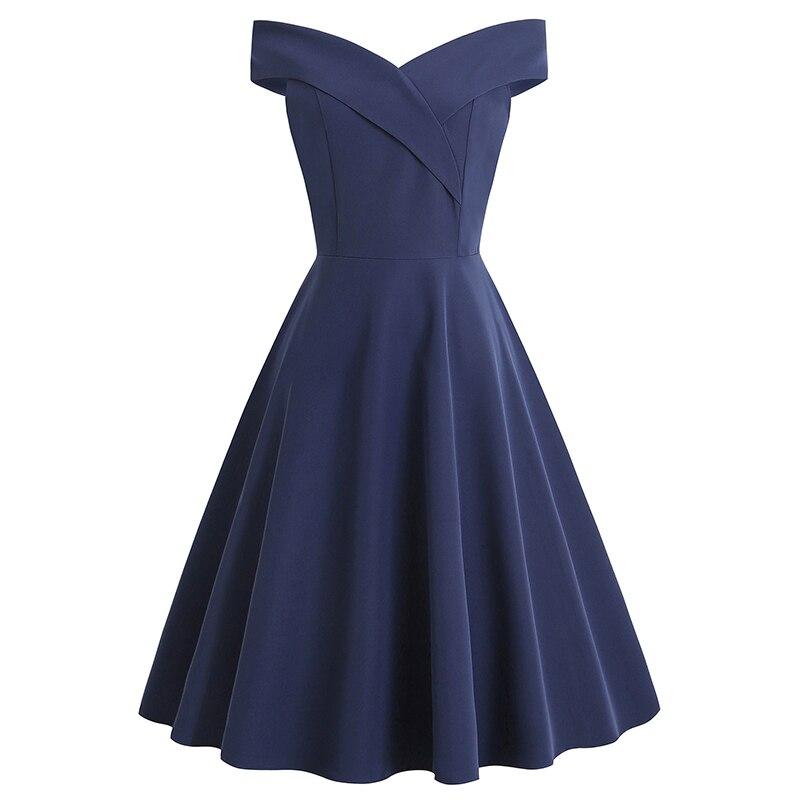 YULUOSHA-فستان حفلة قصير ، عتيق ، أنيق ، أكتاف عارية ، أزرق ملكي ، على طراز هيبورن ، مجموعة خريف 2020