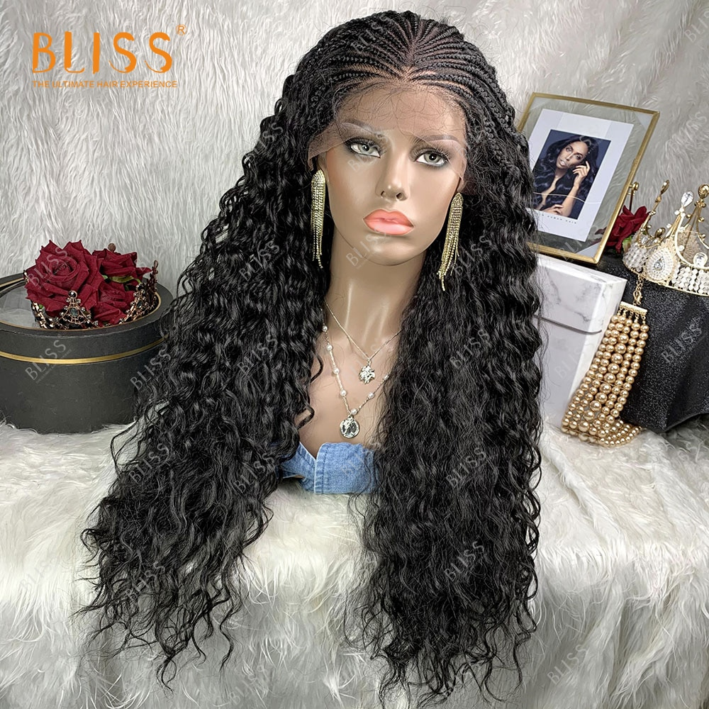 Synthetic Lace Front Wig Water Wave Wig 30 inches Wig Braid African For Black Women Baby Hair Wig Female 2021 New