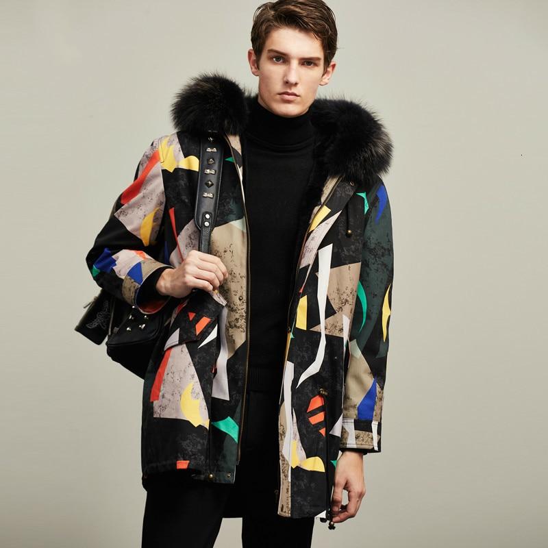 معطف فرو الأرانب للرجال ، معطف فرو الراكون الكوري الحقيقي ، سترة شتوية للرجال ، ملابس الشارع ، Casaco M16D YY1153
