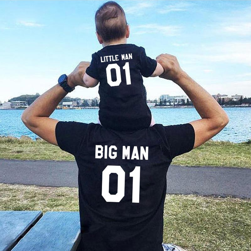 family matching clothes Big man little Father and me t shirt summer mommy outfits