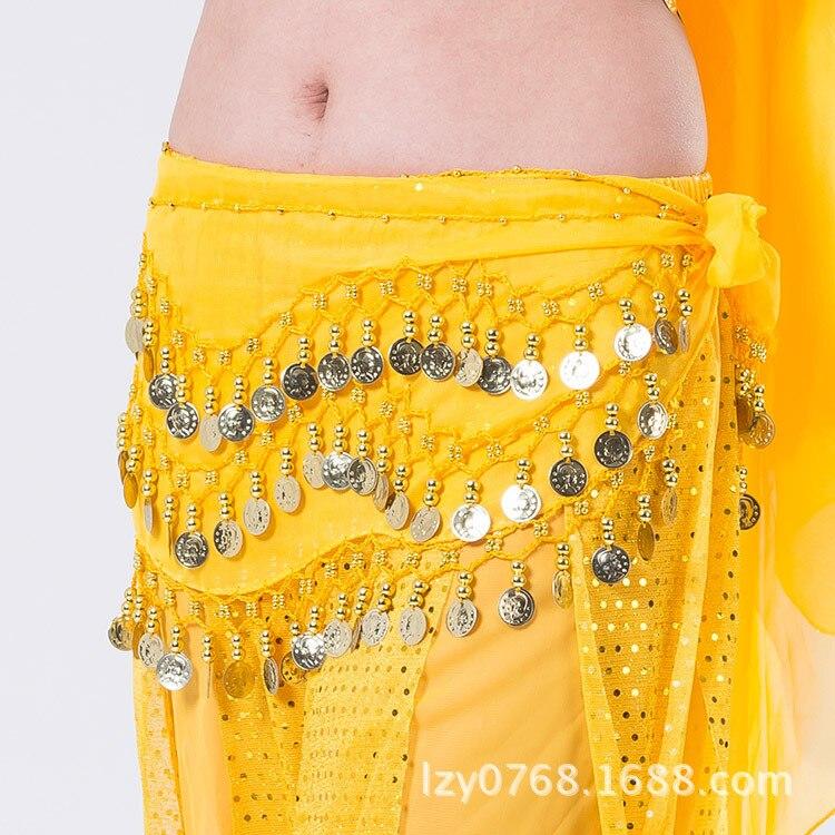 2019 Belly Dance tono monedas cintura cadena envoltura señora Ropa de baile mujer Hip accesorio para bufandas 3 fila cinturón falda con oro bellydance