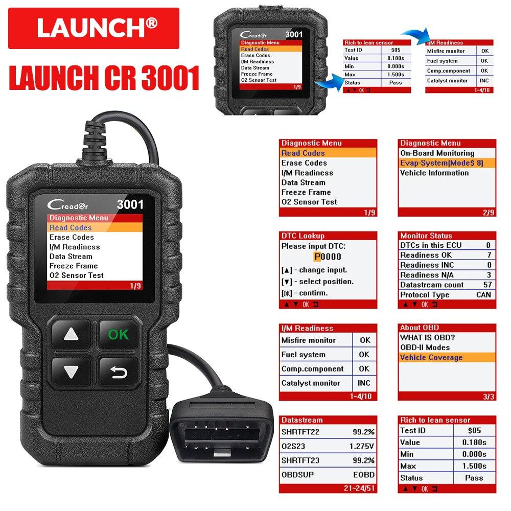 LAUNCH X431 CR3001 USB Free Update OBD2 Car Scanner OBD 2 Engine Code Reader Creader 3001 Auto Diagnostic tool PK CR319 ELM 327