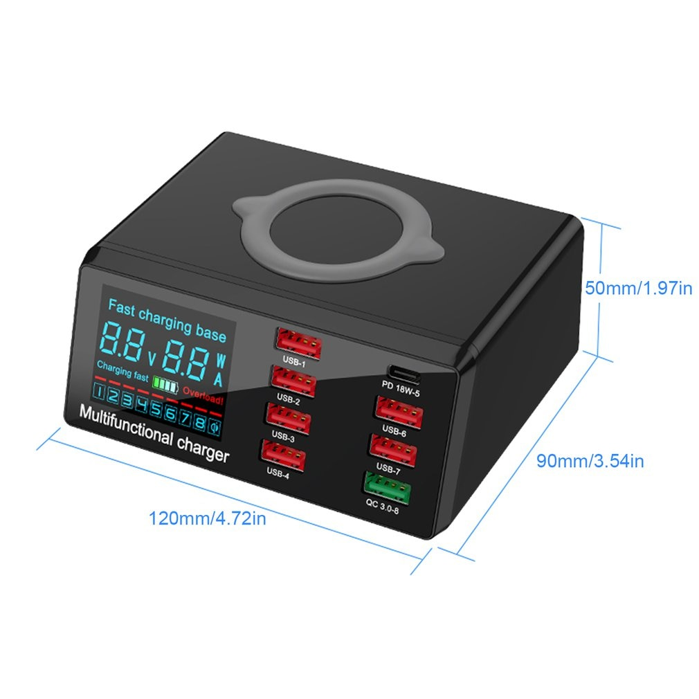 8Port Multi Fast Usb Charger Quick Charge 3.0 Phone Charging Station Led Display Usb Smart Wireless Digital Display Charger X9  - buy with discount