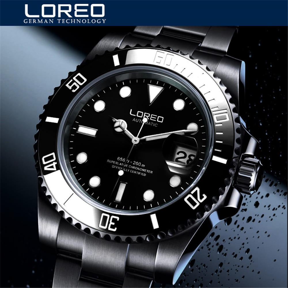 LOREO New Simple Men's Mechanical Watch 200M Waterproof Calendar Sports Waterproof Luminous Generous Fashion Men's Watch 9201