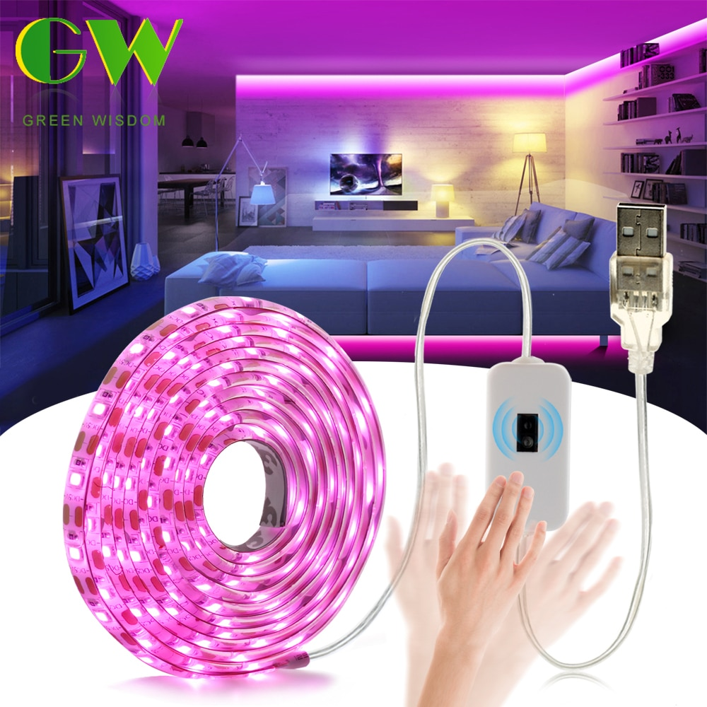 DC5V LED Strip Light USB Touch Sensor Switch Backlight TV Kitchen Hand Sweep ON/OFF Flexible Diode Tape Ribbon