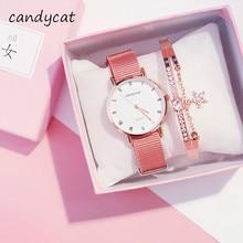 CandyCat zegarki wiśniowe damskie koreańskie wersje prostej mody i trendów w Retro Sakura Fen damski zegarek mały