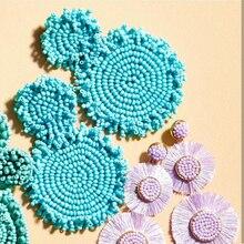 Dvacaman 다채로운 빅 스테이트 귀걸이 여성 Boho 비즈 라운드 드롭 귀걸이 꽃 매달려 귀걸이 웨딩 쥬얼리 파티 선물
