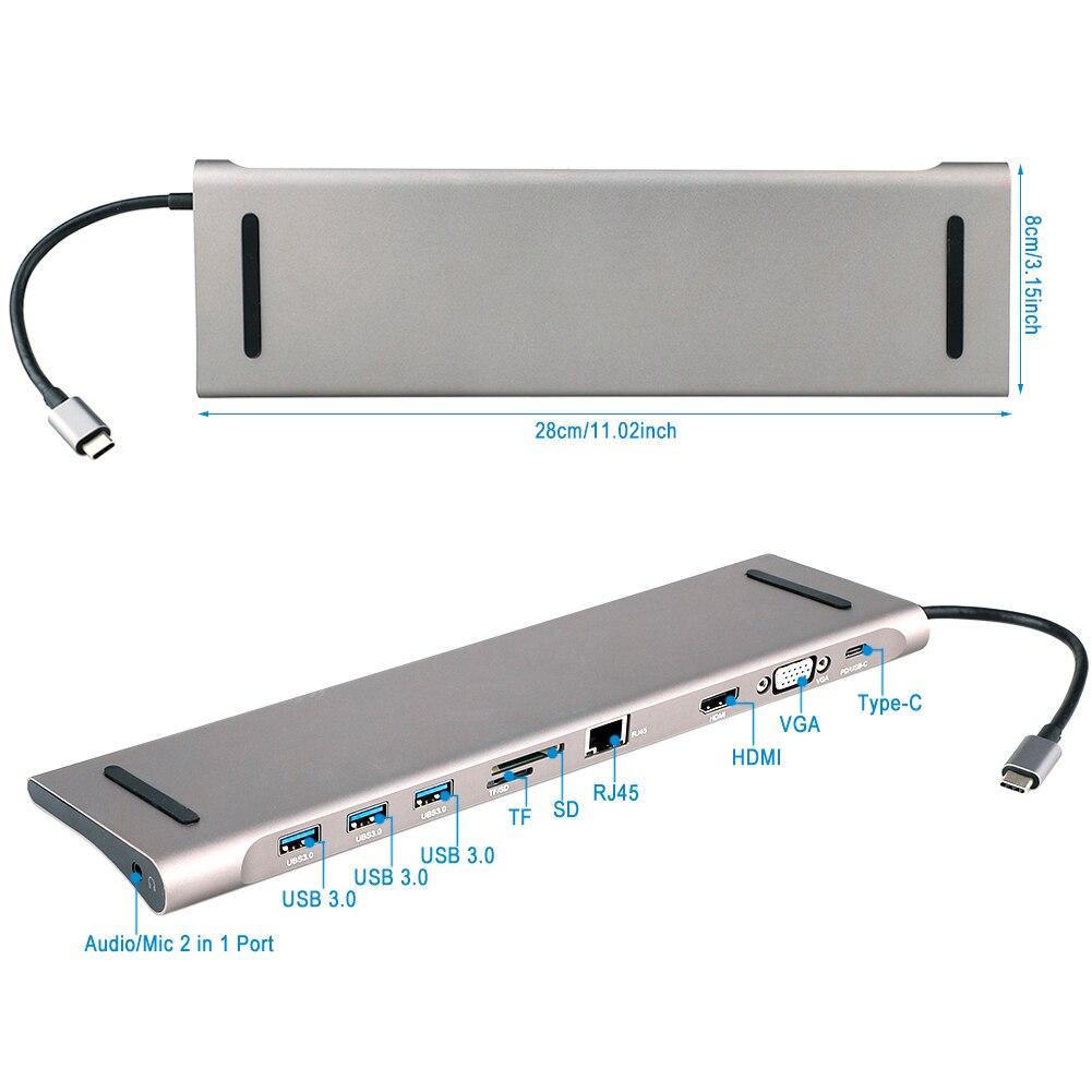USB C HUB à Multi HUB USB 3.0 HDMI 4K /SD/TF lecteur de carte/PD charge Audio /RJ45 adaptateur pour MacBook Pro type c répartiteur usb