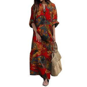 maxi dresses for women summer 2020 Women Dress Autumn Vintage Long Sleeve Ethnic Floral Print Folk Custom Maxi Dress Robe Femme