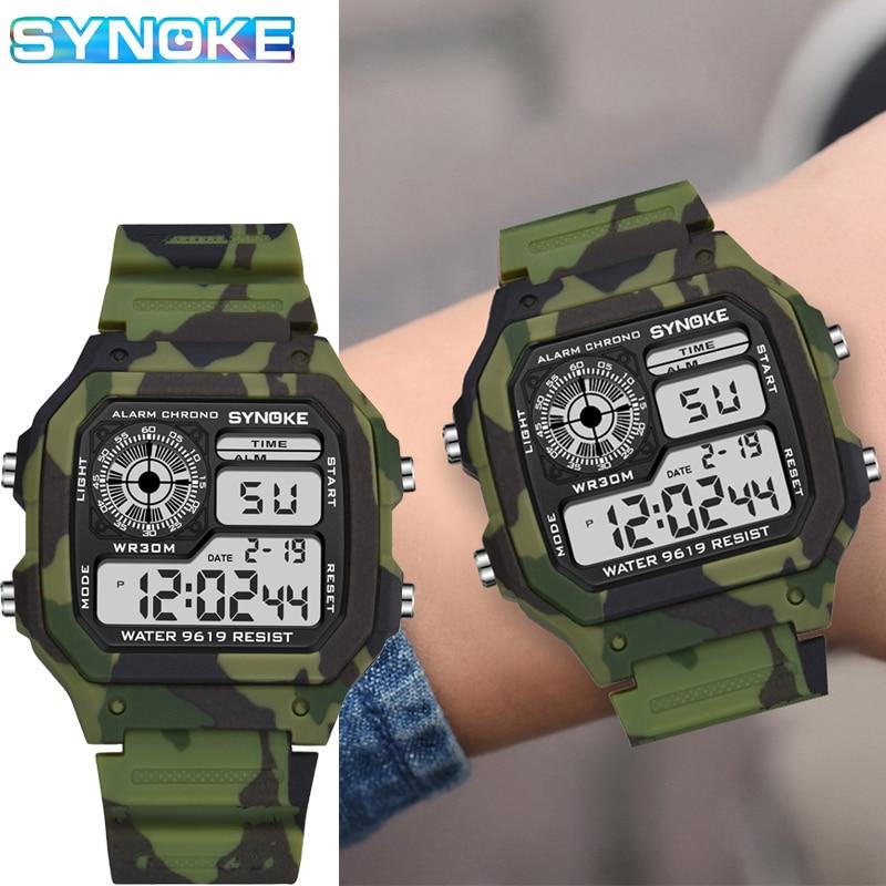 Детские цифровые часы SYNOKE, спортивные камуфляжные Многофункциональные цифровые часы в стиле милитари, 7 ярких светящихся водонепроницаемы...