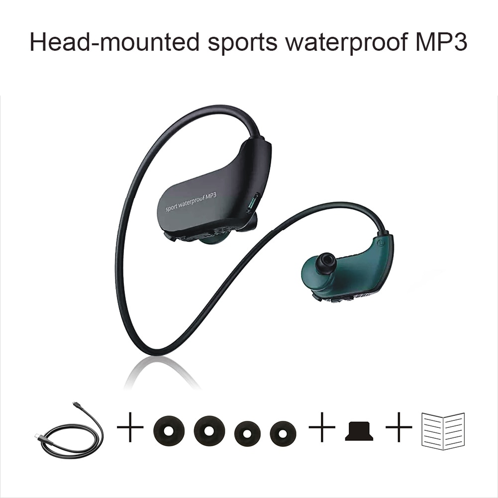 IPX8 impermeable usable MP3 Player MP3 auriculares para correr natación FKU66