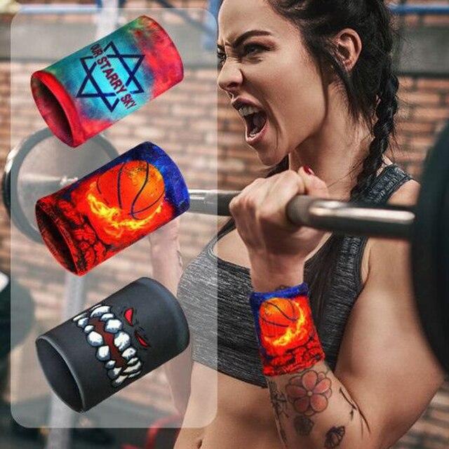 1PCS Colorful Print Unisex Sport Sweatband Wristband Wrist Protector Running Badminton Basketball Brace Terry Cloth Sweat Bands