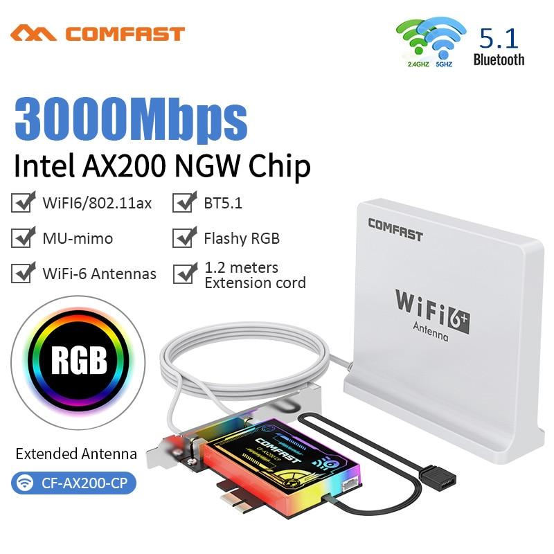 محول PCIe لاسلكي مزدوج النطاق ، 3000 ميجابت في الثانية ، Intel AX200 ، wi-fi 6 ، Bluetooth 5.1 ، RGB ، بطاقة شبكة wi-fi ، 802/11ac/ax ، 2.4 جيجاهرتز ، 5 جيجاهرتز ، كمبيوتر سطح ...