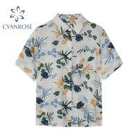 2021 New Chiffon Womens Casual Blouses Women Hawaiian Summer Fashion Floral Print Short Sleeve Button Ladies Loose Shirts Tops