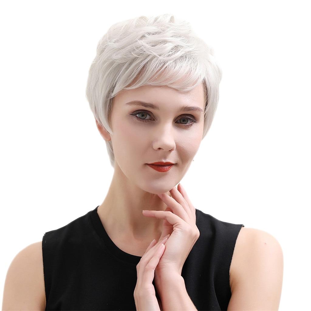 شيك المرأة قصيرة مستقيم الجانب جزء عابث قطع الطبقات الباروكات شعر الإنسان الكامل الباروكات