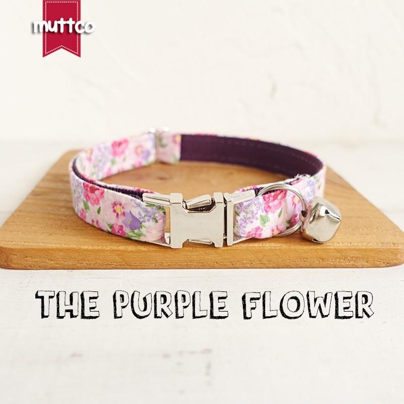 Muttco varejo personalizado particular colar de gato a flor roxa estilo criativo coleiras de gato 2 tamanhos ucc049