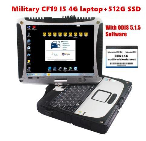 ¡VAS 5054A software de diagnóstico 512G SSD + panasonic CF-19 I5 MK2 4G portátil con ODIS 5.2.6! ETKA 8,1 ELSAWIN 6,0 soporte en línea