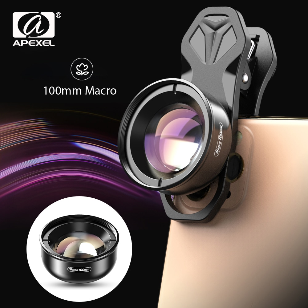 APEXEL HD optic camera phone lens 100mm macro Mobile lens super macro Camcorder lenses for iPhone Sa