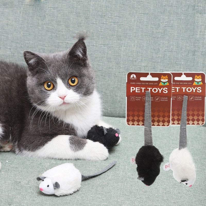 Plush False Mouse Cat Toys Feather Playing Cat Toys Kitten Mini Mice Funny Interactive Scratch Bite Resistance Cat Supplies