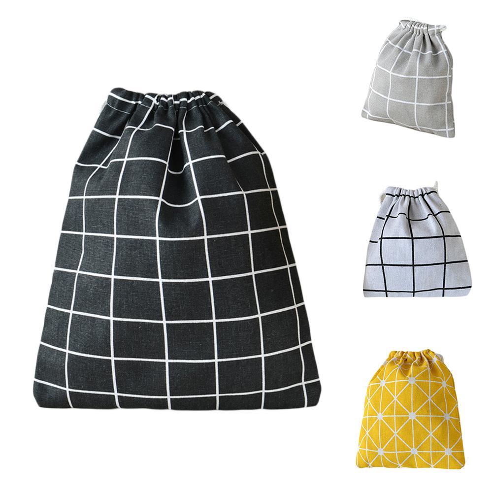 Fashion Plaid Cotton Linen Super Lightweight Drawstring Underwear Storage Bag hot