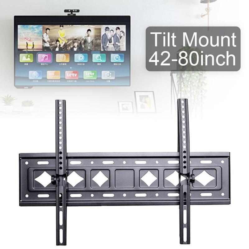 Soporte de montaje en pared ajustable para TV, marco de TV de 75KG, C53, soporte de 15 grados de inclinación con nivel para Monitor LED de 42- 80 pulgadas
