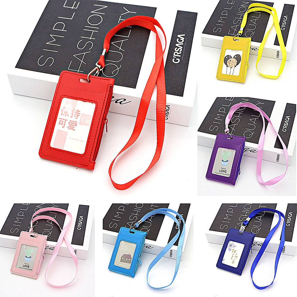 Fashion Student Lanyard Card Holder Waterproof Id High Quality Certificate Credit Card Bag For Girls