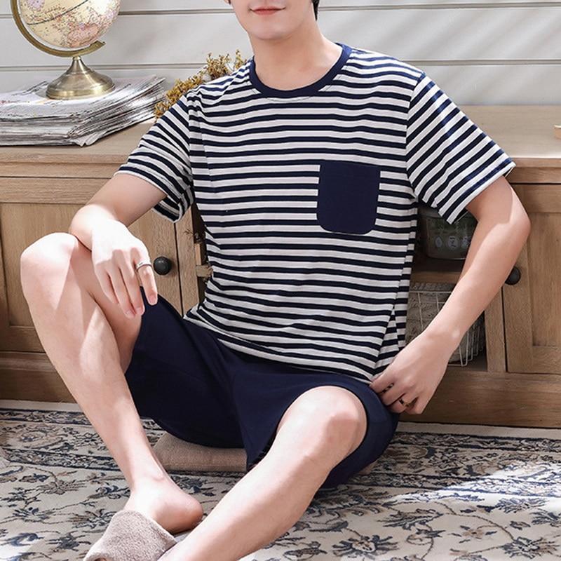 2021 Summer Cotton Pyjamas Spring Casual Pajamas With Stripe Shorts For Men Lovely Print Pajama Sets Comfortable Cool Sleepwear