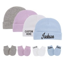Personalised Newborn Baby Hat & Gloves for 0-3M Baby Cotton Hats Anti-Scratch Gloves Custom Name Uni