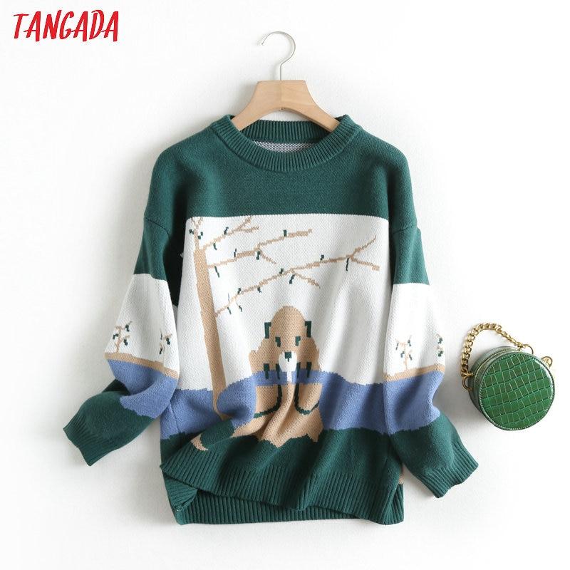 Tangada women sweet green cartoon parttern jumper sweater korean fashion long sleeve o neck pullovers tops  BC47