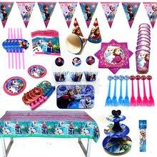 Assiettes en paille en papier pour fête des neiges Disney assiettes, gobelets pour filles, décor danniversaire Elsa Anna