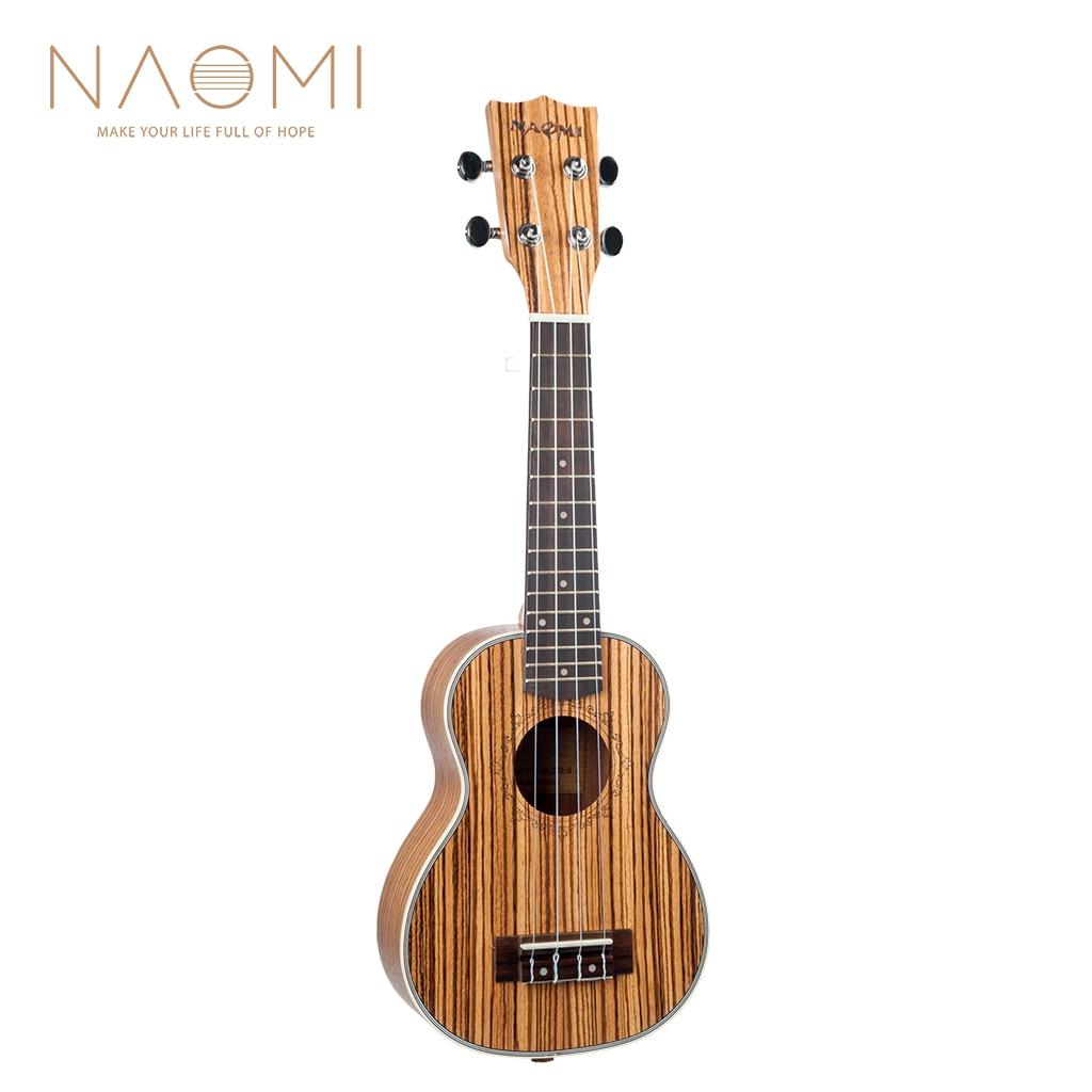 Naomi ukulele 21 ukulele guitarra acústica ukelele zebrawood 15 traste 4 cordas guitarra ukulele 21 instrumento de cordas musicais