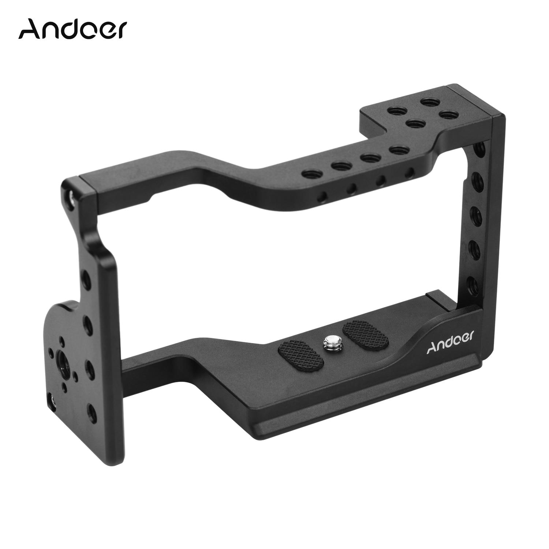 Andoer Video cámara Cage Kit Cámara funda con soporte extensión de agujeros de rosca de montaje en frío para cámaras Sony A6600 ILDC