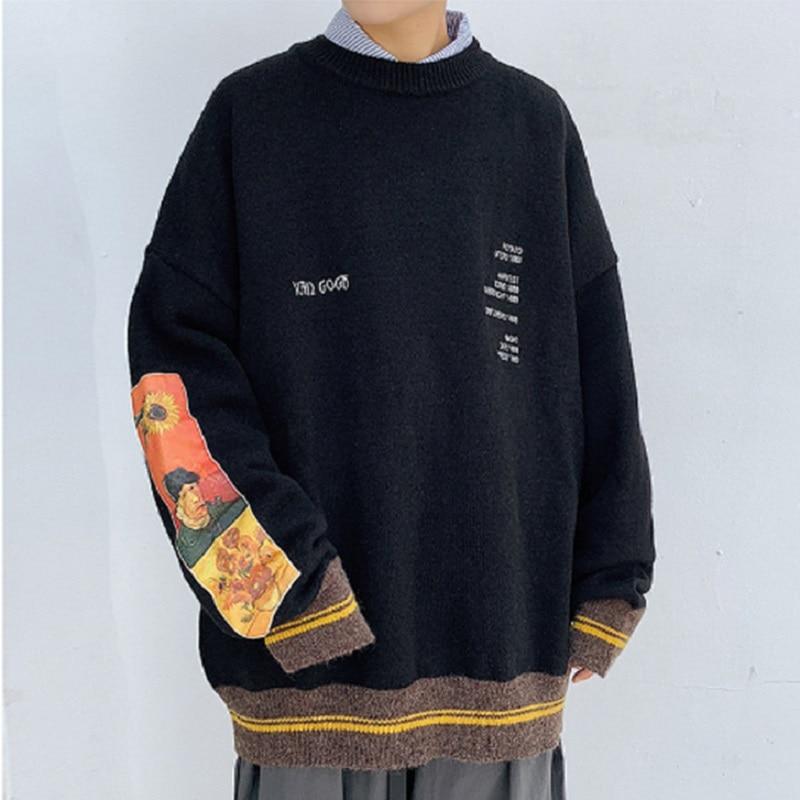 Парный пуловер, свитер, Мужская модная осенне-зимняя Толстая вязаная кофта свободного кроя с круглым вырезом в стиле ретро, японский тренд, ...