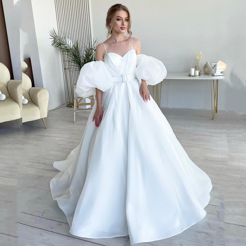 Elegant Sweetheart Wedding Dresses 2021 Puff Sleeves Spaghetti Straps Sashes Court Train Ball Gown Satin Pleat Design Summer