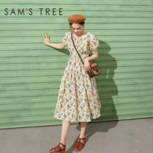 SAM'S TREE Yellow Disty Floral High Waist Casual Women Chiffon Dresses 2020 Summer Vintage Brown Pure Ladies Korean Daily Dress