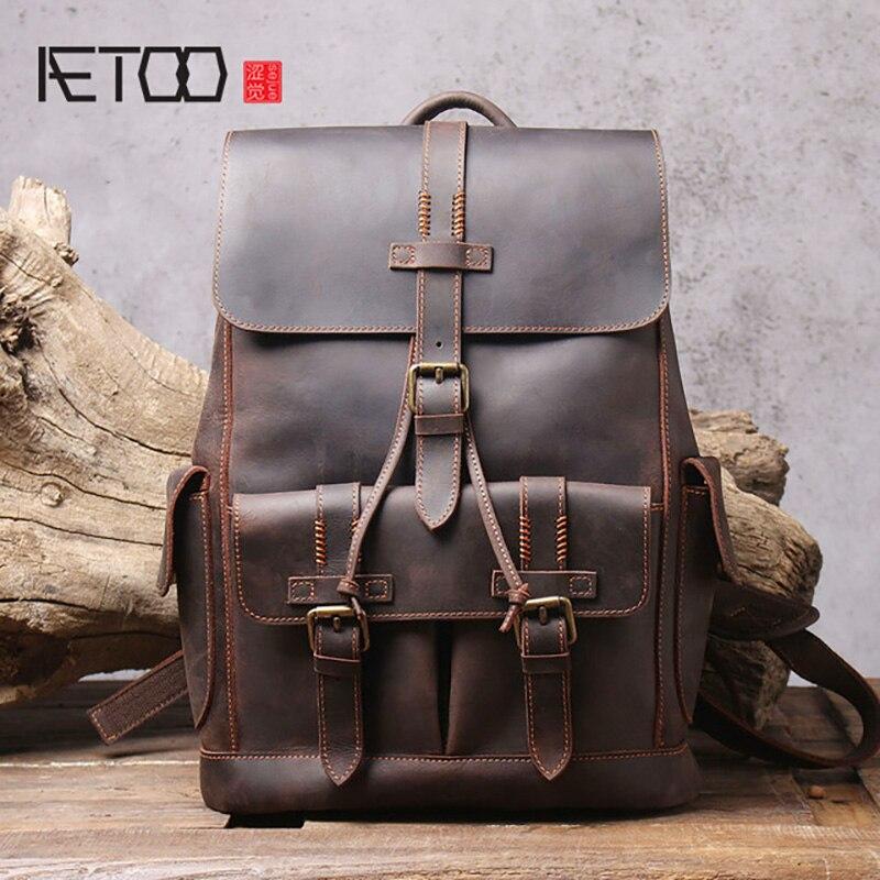 AETOO Retro-حقيبة ظهر جلدية كريزي هورس للرجال ، حقيبة مدرسية جلدية ذات سعة كبيرة ، حقيبة سفر