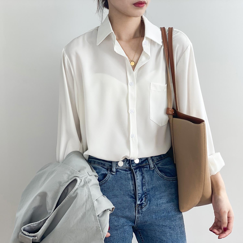 White Solid Color Female Casual Blouse Single Breasted Fashion Female Loose Elegant Shirt Korean Sty