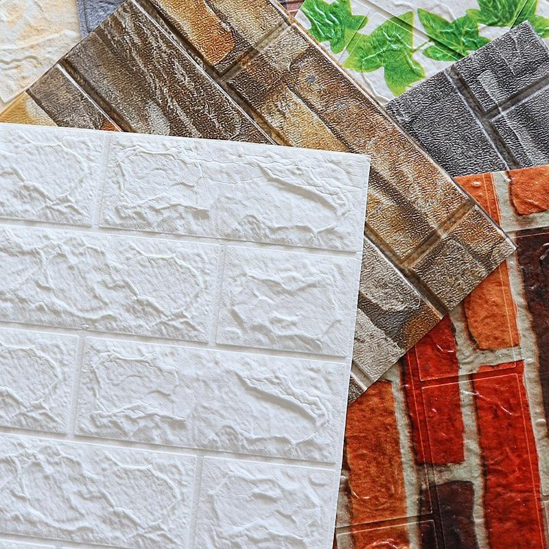 New Design 8pcs 3D Wall Panels Home Decoration 3D Wall Sticker Living Room Apartment 3D Self-Adhesive Wallpaper
