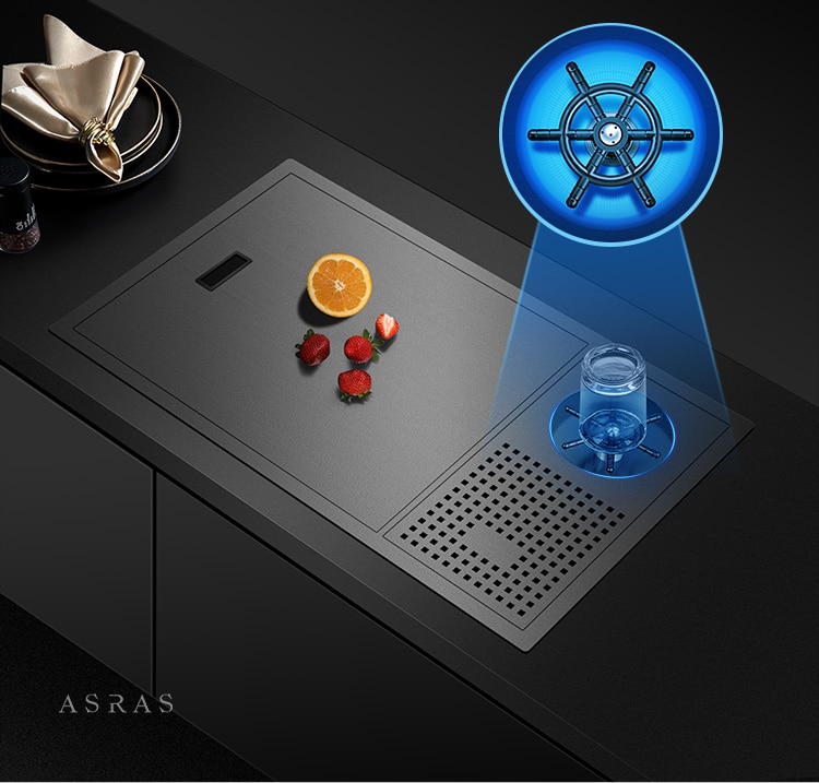 Asras 6338NX الأسود نانو بالوعة المطبخ الفولاذ المقاوم للصدأ كأس Rinser المخفية بالوعة رفع صنبور ارتفاع ضغط الرش غسالة الزجاج