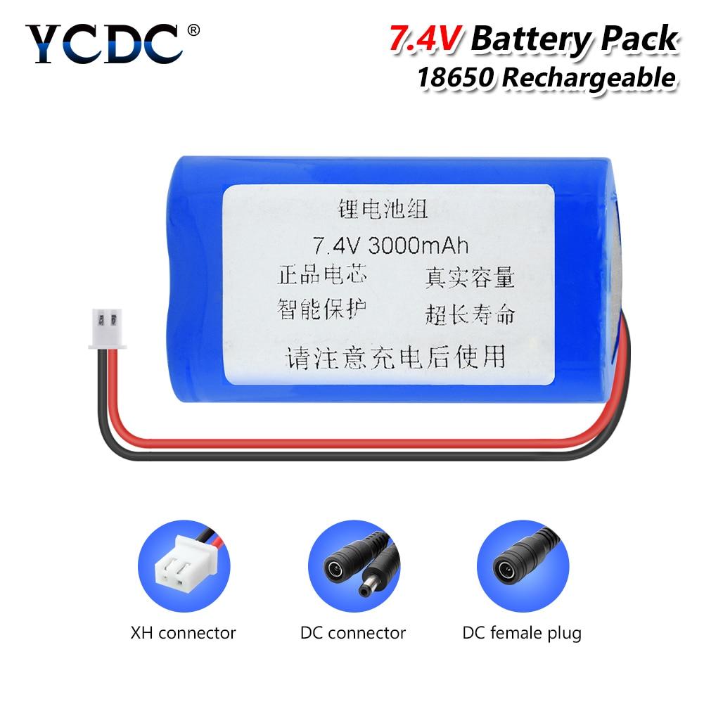 7,4 v 3000/6000/9000mAh 18650 batería de litio recargable con XH 2,54mm DC 5,5x2,1mm enchufe para juguetes RC banco de energía DIY