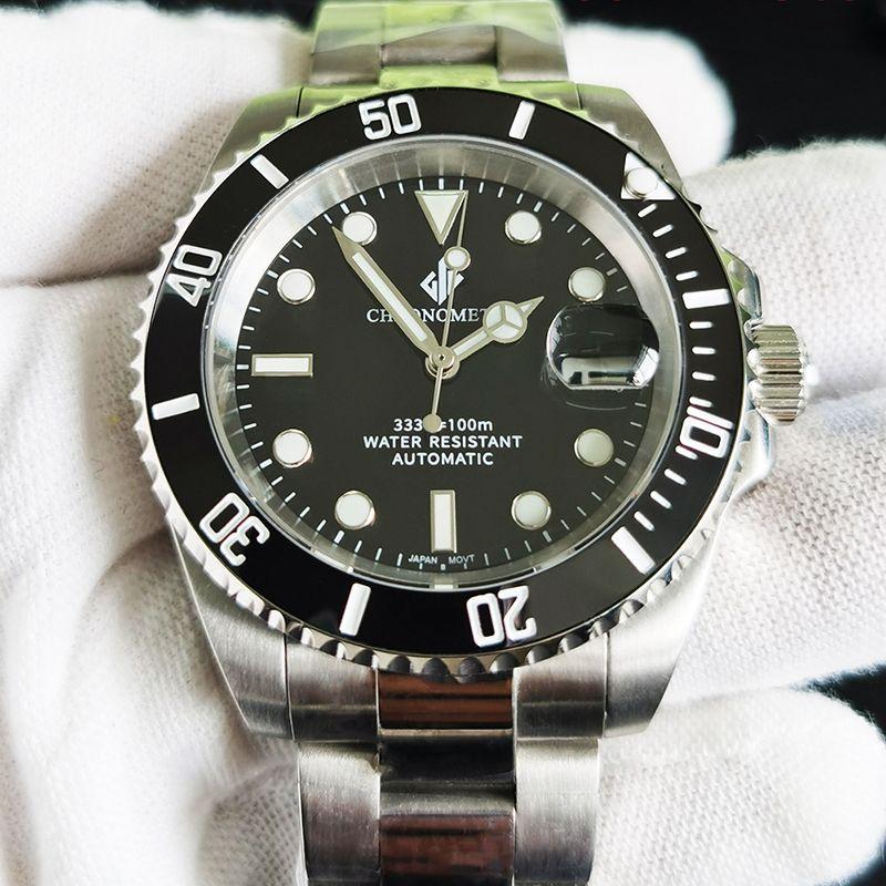 رجالي ساعات آلية ميكانيكية مقاوم للماء ساعة رجالي ياباني حركة ياقوت ماركة GIV سوار فولاذي غير قابل للصدأ أسود