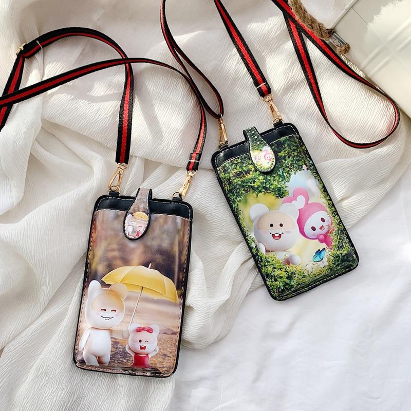 Милая мини-сумка с рисунком, женская сумка через плечо, женская сумка на плечо, кожаная сумка для сотового телефона, кошелек для монет, женск... printio сумка с абстрактным рисунком