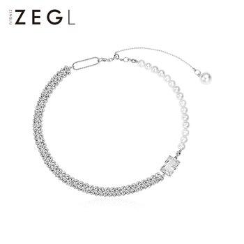 ZENGLIU High Grade Sense Imitation Pearl Splicing Necklace Female Light Luxury Minority Temperament Clavicle Chain Internet
