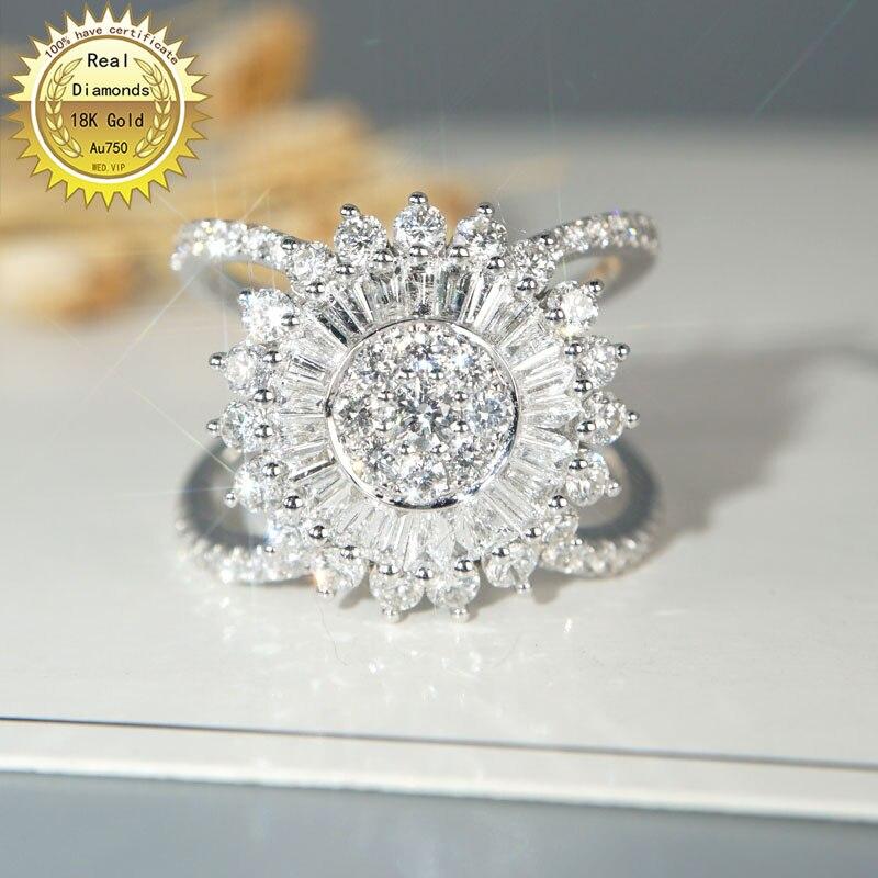 18k الذهب الأبيض 2ct خاتم الماس المشاركة والزفاف خاتم ألماس أصلي طبيعي المجوهرات لديها شهادة 008