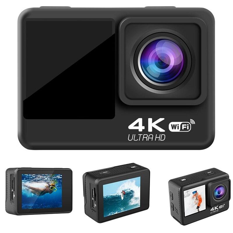 4K / 60Fps 2 بوصة + 1.3 بوصة شاشة مزدوجة عمل كاميرا 170 درجة كاميرا تحت الماء خوذة الذهاب الرياضة برو كاميرا تسجيل الدخول