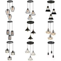 vintage industrial pendant lights modern black minimalist retro nordic loft pyramid lamp metal cage hanging lighting e27 indoor